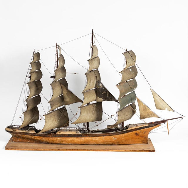 Late 19th Century Handmade Wooden Ship Model From France For Sale - Image 4 of 11