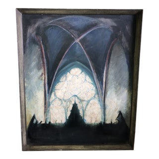 Mid 20th Century Church Interior Oil Painting, Framed For Sale