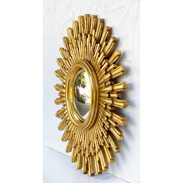 Resin French Starburst or Sunburst Convex Mirror with Gilt Cast Frame For Sale - Image 7 of 13