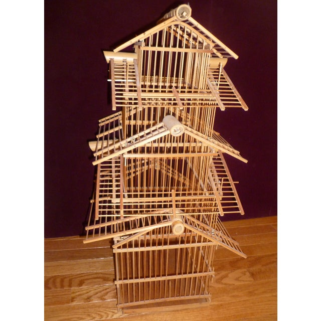 1970s Bamboo Wood Bird Cage For Sale - Image 4 of 8