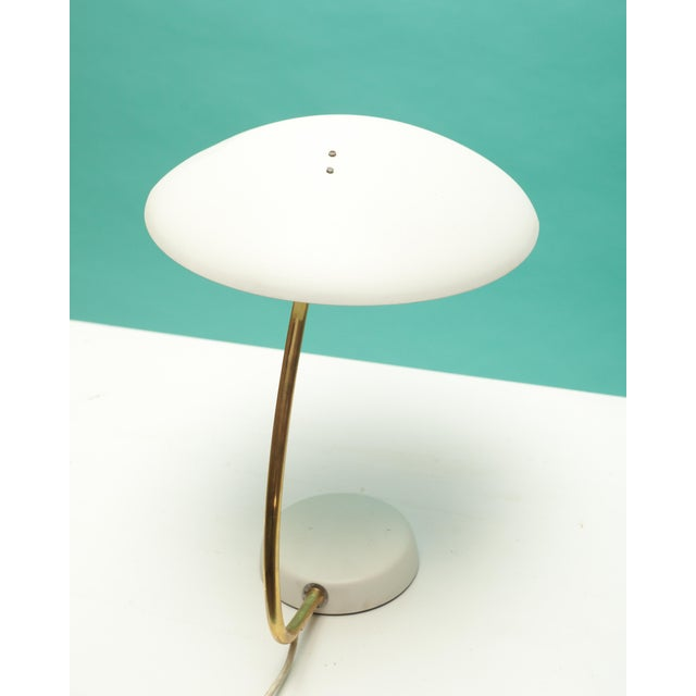 Bauhaus White and Brass Table Lamp For Sale - Image 4 of 6