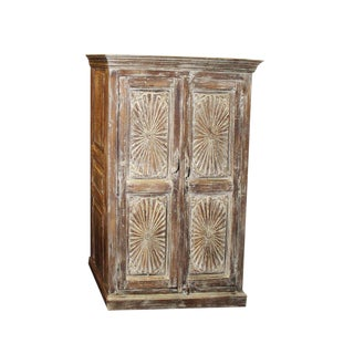 1920s Rustic Carved Indian Eclectic Coolest Cabinet For Sale