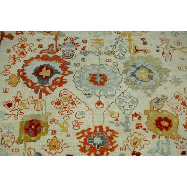 Turkish Oushak Rug With Red & Yellow Floral Details on Ivory Field For Sale In Dallas - Image 6 of 10