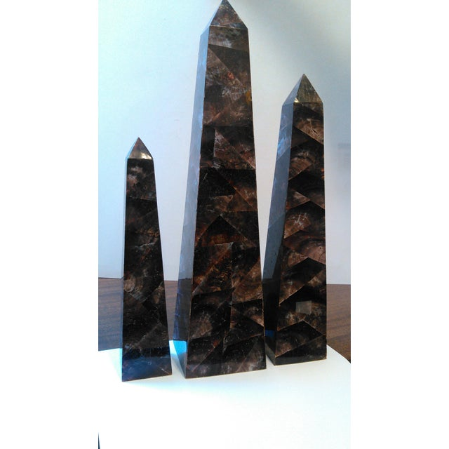 Mid-Century Crushed Shell Inlaid Obelisks - Set of 3 - Image 7 of 7