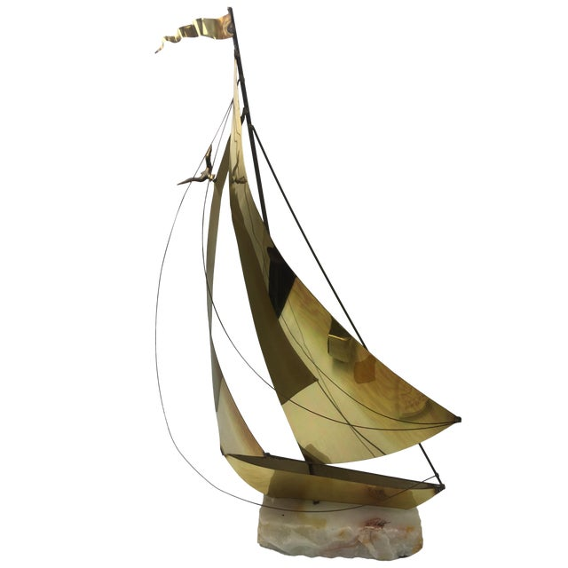 1960's Brass Ship Sculpture on Onyx Base - Image 1 of 9