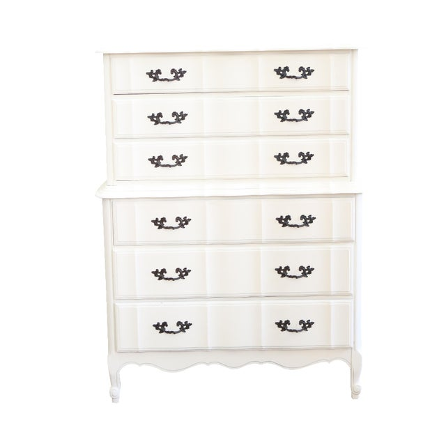 Shabby Chic French Provincial Highboy Dresser - Image 1 of 6