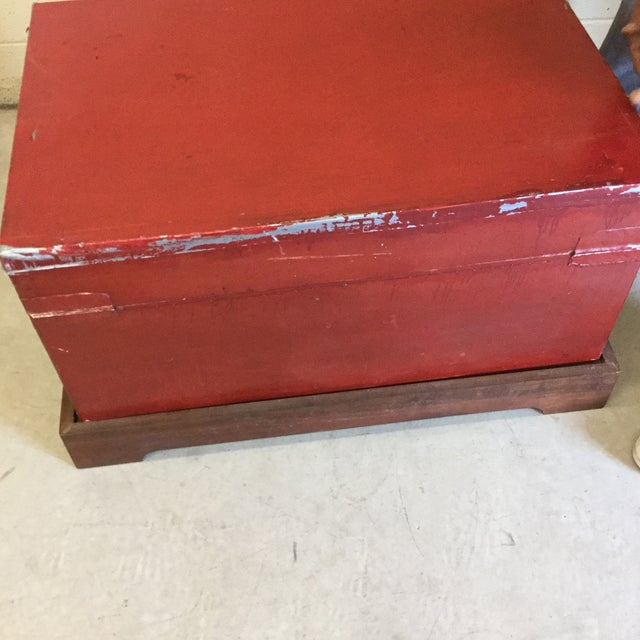 Red and Gold Lacquered Chinese Trunks - a Pair For Sale - Image 9 of 13