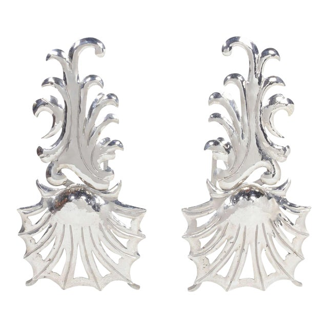 Pair of Elegant Hollywood Regency Fireplace Andirons For Sale