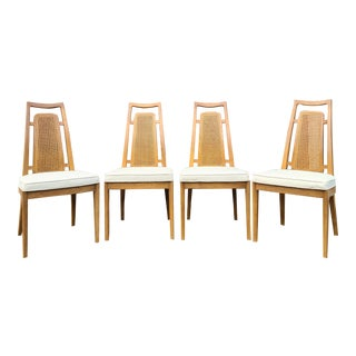 1960s Drexel Meridian Sculptural Cane Back Dining Side Chairs - Set of 4 For Sale
