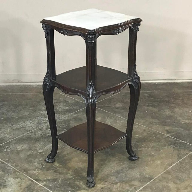 Hand-crafted from exotic Solid Rosewood and fitted with a contoured Cararra Marble top, this stunning Antique 19th Century...