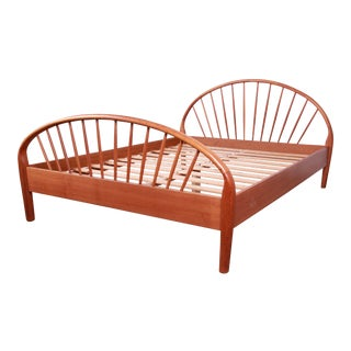 Danish Modern Teak Spindle Queen Size Bed by Jesper For Sale