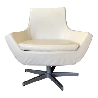Mid Century Modern Swedese Pearl White Leather Happy Swing Chair - 6 Available