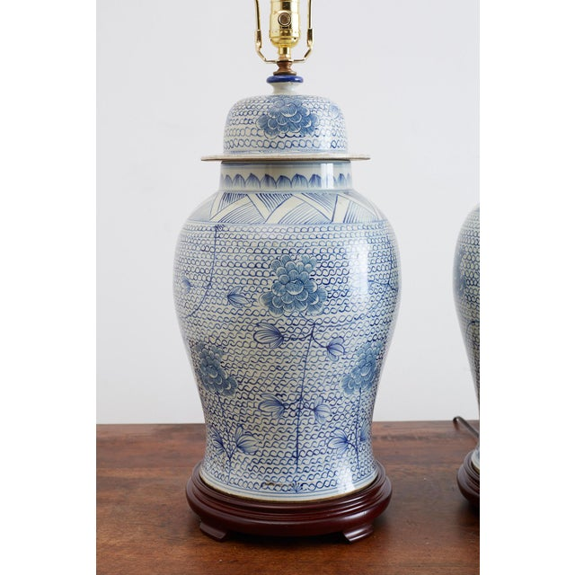 Blue Chinese Porcelain Blue and White Ginger Jar Lamps For Sale - Image 8 of 12