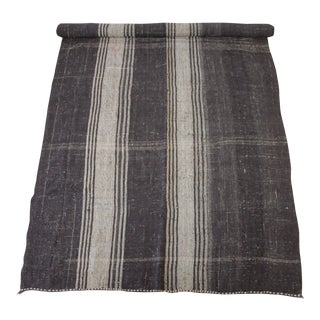 Vintage Flat-Weave Turkish Rug in Dark Coco Brown With Creamy White Stripes For Sale