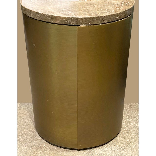 Modern Paul Mayen Style Matte Bronze Drum Table For Sale - Image 3 of 9