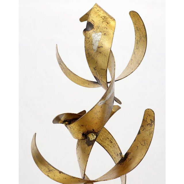 Mid-Century Modern William Bowie Table Top Metal Gold Leaf Sculpture Solid Wood Block Base For Sale - Image 3 of 13