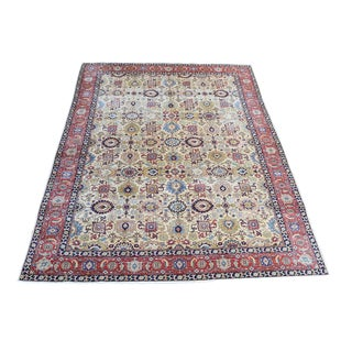 Vintage Persian Tabriz All Over Pattern Wool Hand Knotted Rug - 9' ×12' For Sale