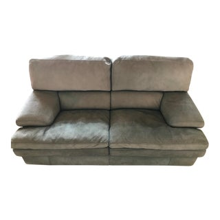 Roche Bobois Pebble Suede Leather Loveseat For Sale
