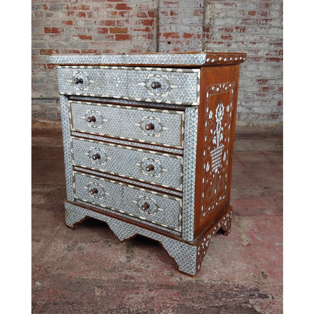 Syrian Beautiful Mother-Of-Pearl Inlay Chests Nightstands - A Pair For Sale - Image 4 of 11