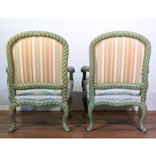 1960s Italian Carved Rope Wood & Chinoiserie Silk Napoleon III Chairs, Pair Preview