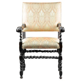 Continental Baroque Ebonized Carved Wood Chair
