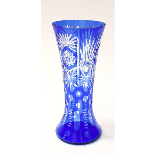 Vintage Czech Bohemian Cobalt Blue Cut To Clear Crystal Vase Chairish