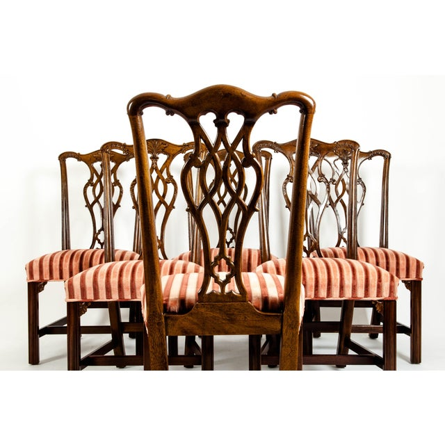 Red George III Style Mahogany Dining Chairs - Set of 8 For Sale - Image 8 of 13