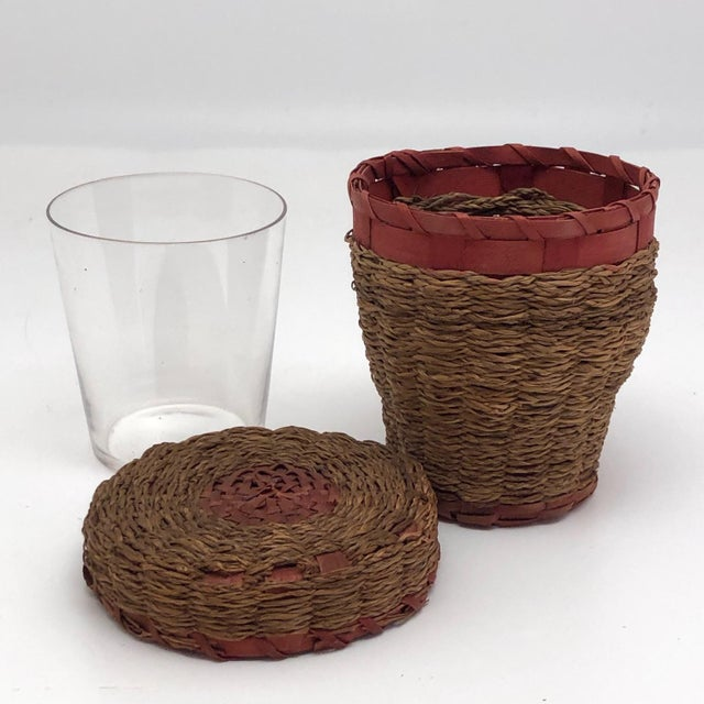 20th Century Primitive Wabanaki Sweetgrass and Dyed Ash Splint Lidded Basket For Sale - Image 10 of 13