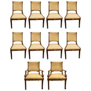 Set of 10 Grosfeld House Neoclassical Hollywood Regency Style Dining Chairs For Sale