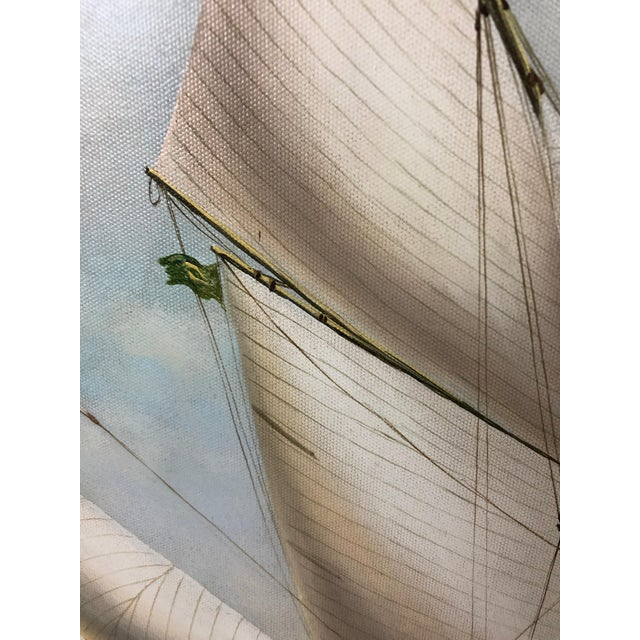 Realist Painting of Sailing Vessels by Cooper For Sale - Image 10 of 13