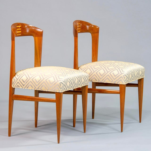 1940s Set of Eight Art Deco Beech Chairs With New Upholstery For Sale - Image 5 of 12