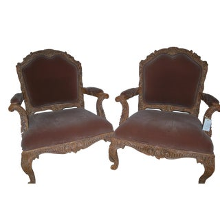 20th Century Continental Louis XV Style Hand Carved Walnut Fauteuils Armchairs- a Pair For Sale