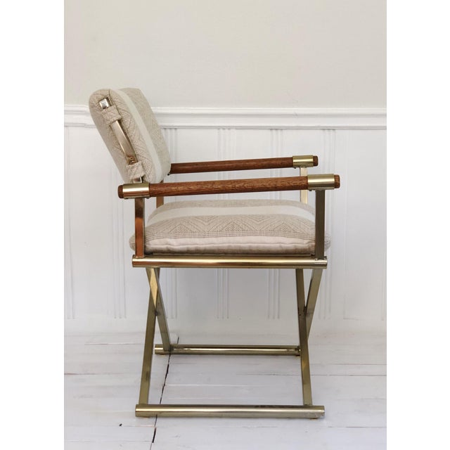 Campaign 1970s Mid Century Brass Milo Baughman Style Campaign Director's Chair For Sale - Image 3 of 11