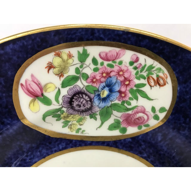 Crown Staffordshire Vintage Crown Staffordshire Cobalt & White With Flowers Luncheon Plate Set - 12 Pc. For Sale - Image 4 of 7