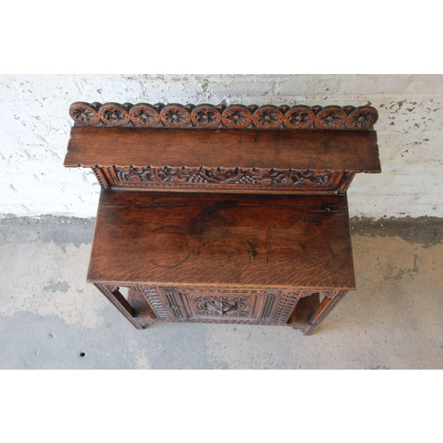 Brown 19th Century English Ornate Carved Oak Sideboard Bar Cabinet For Sale - Image 8 of 13