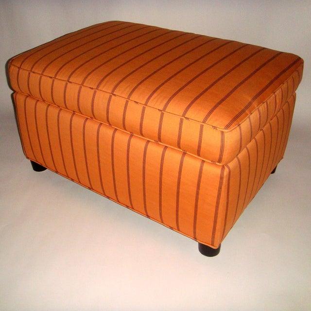 Mid-Century Orange Upholstered Ottoman - Image 2 of 5