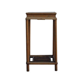 Chinese Square Distressed Light Brown Wood Pedestal Plant Stand Table For Sale