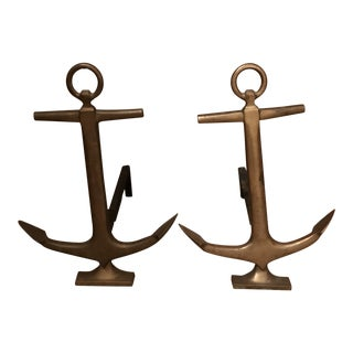 Antique Nautical Anchor Andirons - a Pair For Sale
