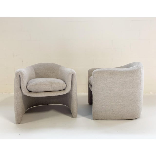 Mid-Century Modern Preview Modernist Lounge Chairs Restored in Loro Piana Alpaca Wool Fabric - Pair For Sale - Image 3 of 8