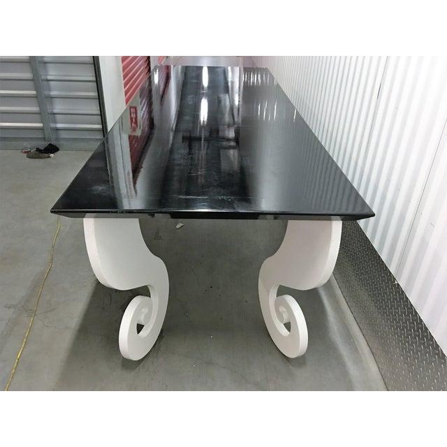 Black Lacquer Pinwheel Legged Hall Table - Image 6 of 10