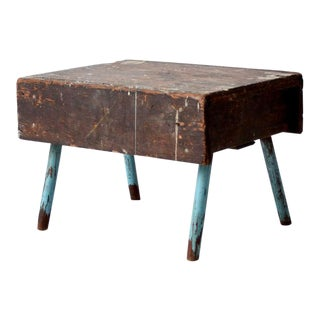 Vintage Rustic Low Stool For Sale