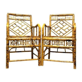 Elegant Hollywood Regency Style Bamboo Chairs