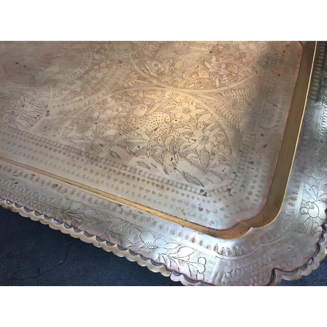 Mid-Century Rectangular Brass Tray Top Coffee Table For Sale - Image 4 of 11