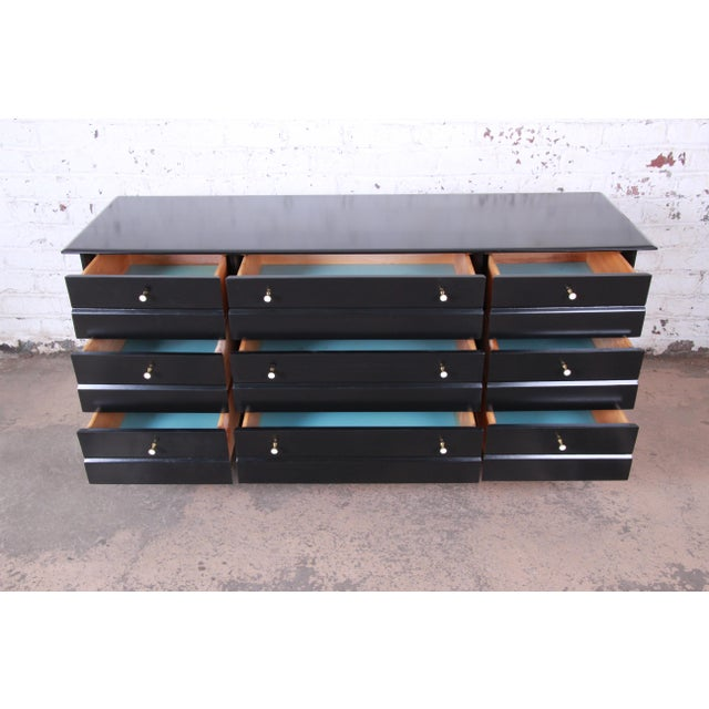 Paul McCobb Style Ebonized Triple Dresser or Credenza by Heywood Wakefield For Sale - Image 9 of 13