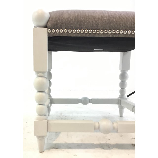 Transitional White and Gray Julianne Ottoman For Sale - Image 4 of 5