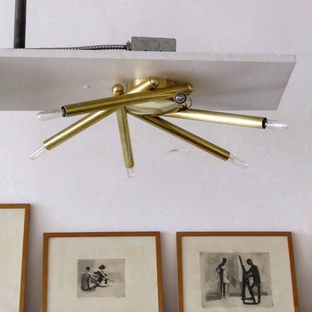 Stunning custom six-arm brass flush mount fixture, can be used as wall or ceiling light. LEAD TIME 4-6 WEEKS, MADE TO...