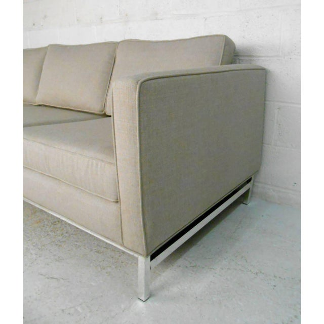 Chrome Mid-Century Modern Florence Knoll Style Sofa For Sale - Image 7 of 10