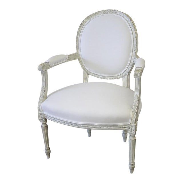 20th Century Louis XVI French Light Gray Armchair - Image 1 of 6