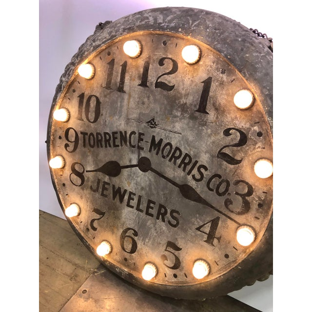 Traditional 1910s Light Up Double Sided Jewelry/Clock Sign For Sale - Image 3 of 8