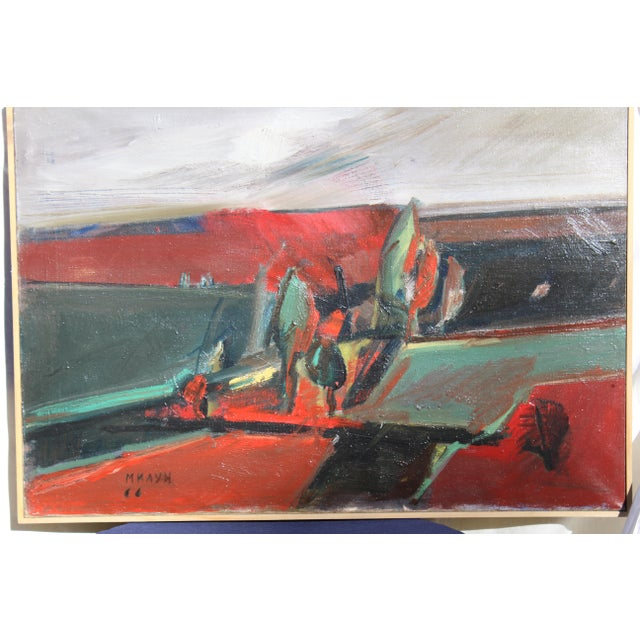 """Belgrade """"Vece"""" Oil Painting by Milun Mitrovic For Sale - Image 9 of 9"""